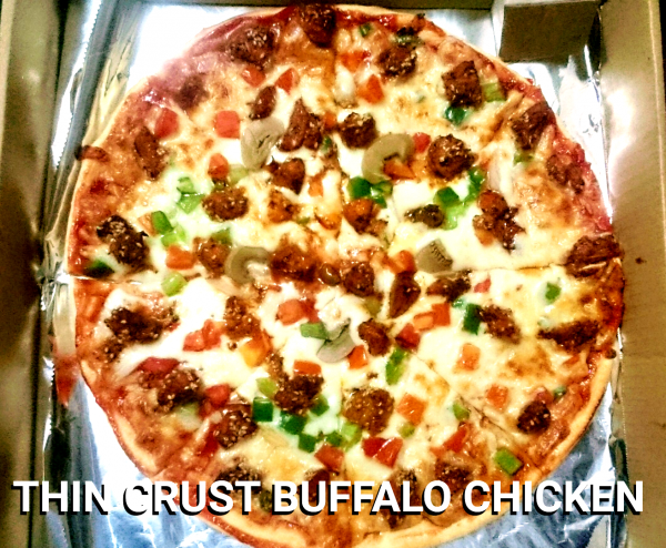 "Thin Crust with Buffalo Chicken Pizza 10"" from Mom's Best Homemade Pizza"
