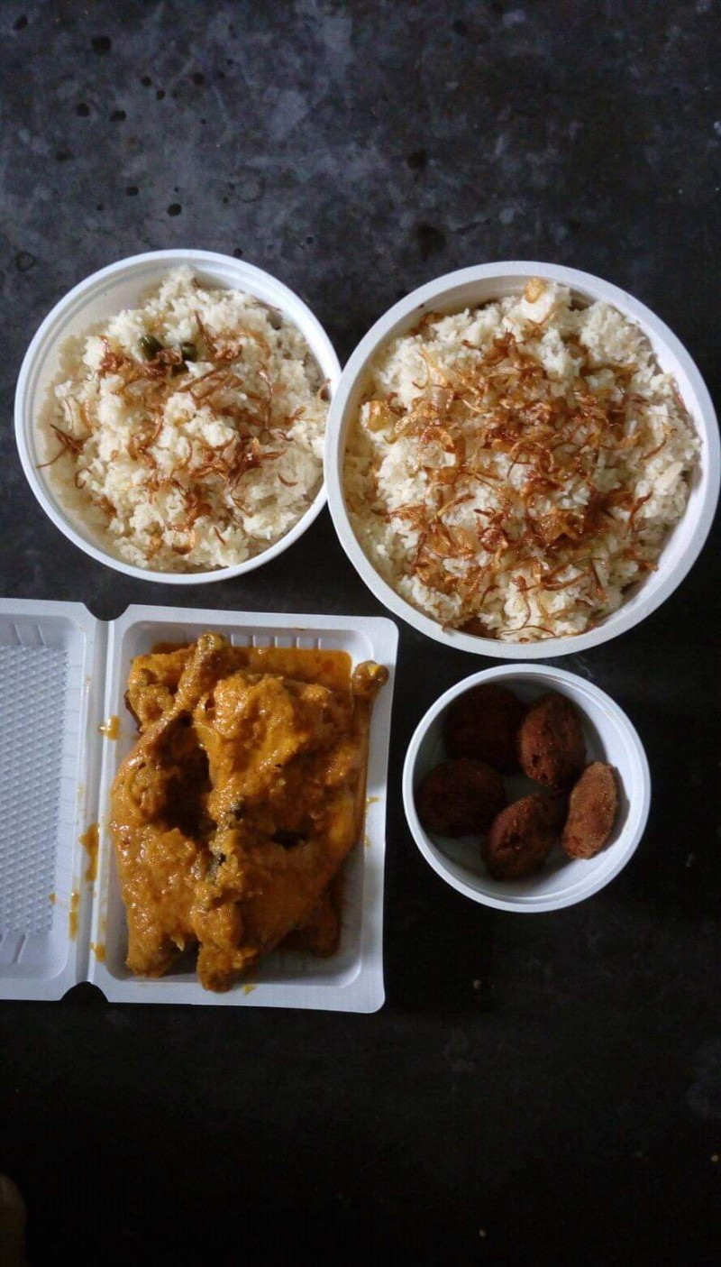 Morog polau(Plain polau+Roast+ Chingri Malaikari+Jorda+ Chicken kabab) from Papri's Dream