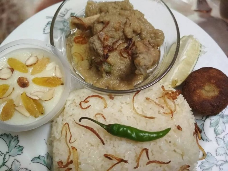 Plain Pulao, Chicken kurma, Beef Kabab with Shahi firni from Nilima Rannaghor
