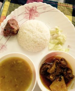 Beef vuna, Alu vorta, Dal, Salad, Plain rice from Shelley's Kitchen