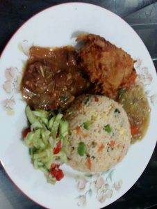 Fried Rice, Fried Chicken, Chinese Vegetable, Beef Onion, Salad from Ayesha's Kitchen