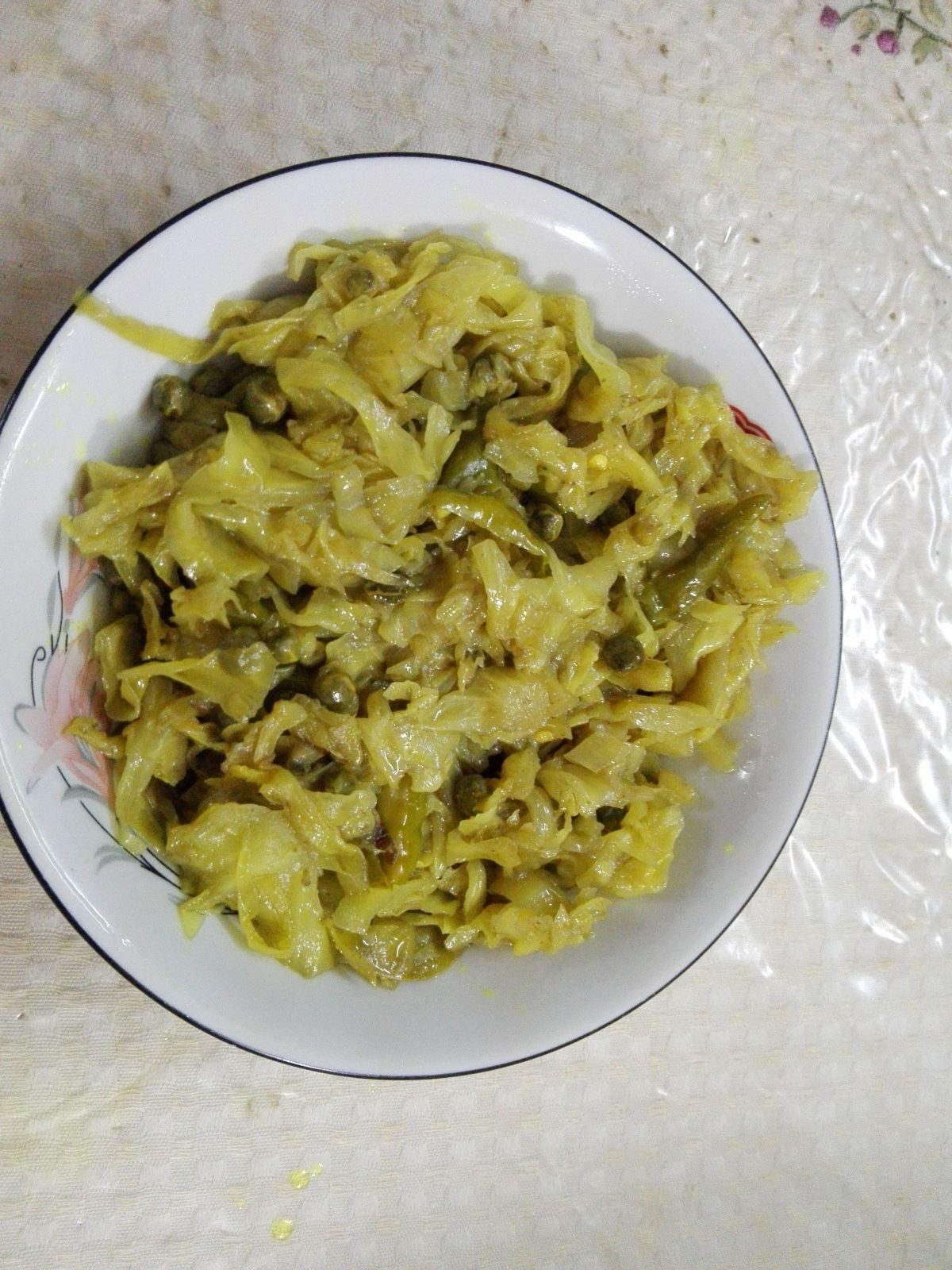 Cabbage with green pea (seasonal) from Mahbuba's Kitchen