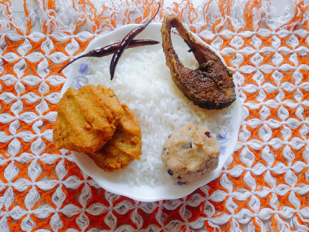 Rice + Ilish + Alu Vorta from Moni's Kitchen