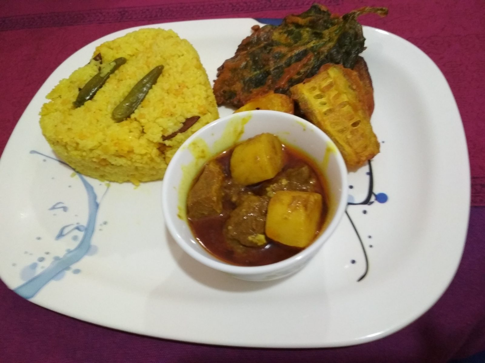 Vuna Khichuri + Vegetables Fry + Beef Curry