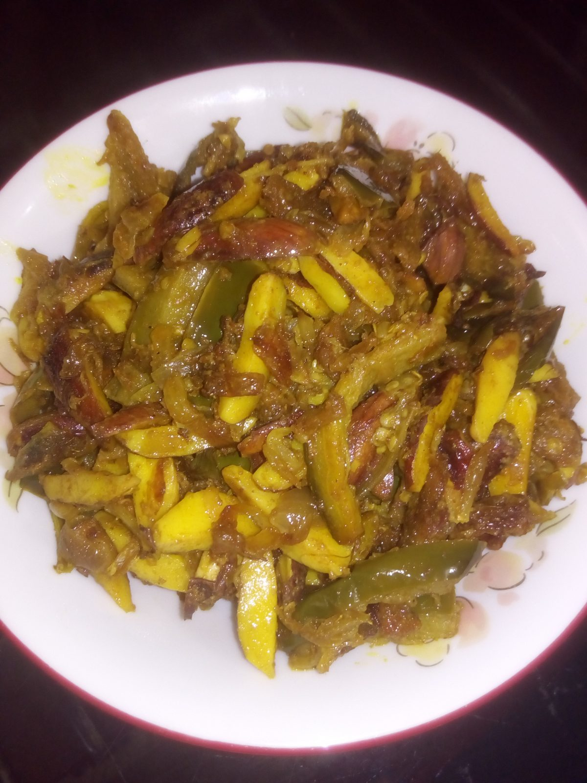 Loitta Shutki, Begun, Jackfruit Seed Fry from Ayesha's Kitchen