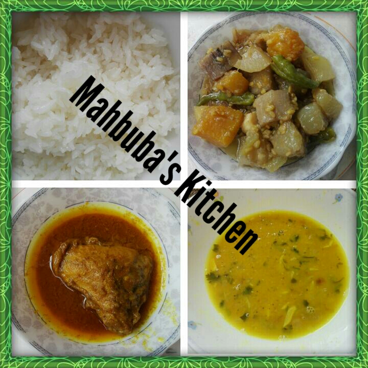 Plain rice+Vegetables+chicken curry+dal+salad from Mahbuba's Kitchen