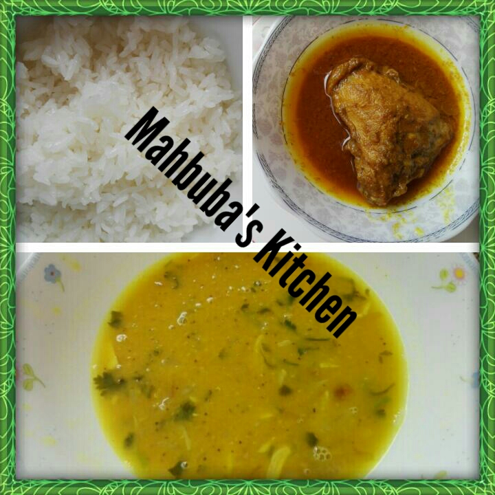 Rice + Dal + Chicken Curry+Salad from Mahbuba's Kitchen