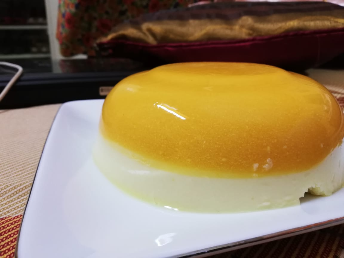 Mango Custard Layered Pudding