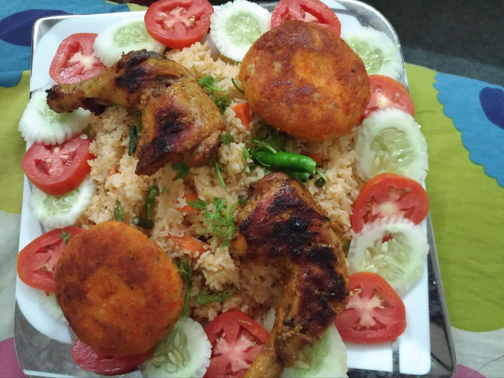 Special Mexican Rice, Grill Chicken, Salad, Potato Chop from Mohima's Kitchen