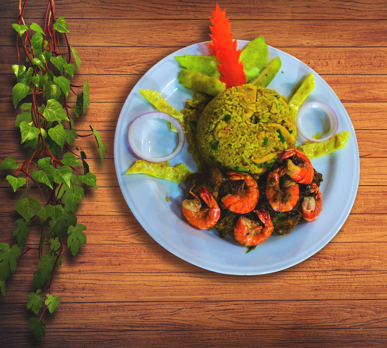 Bhuna Khichuri with Prawn Curry