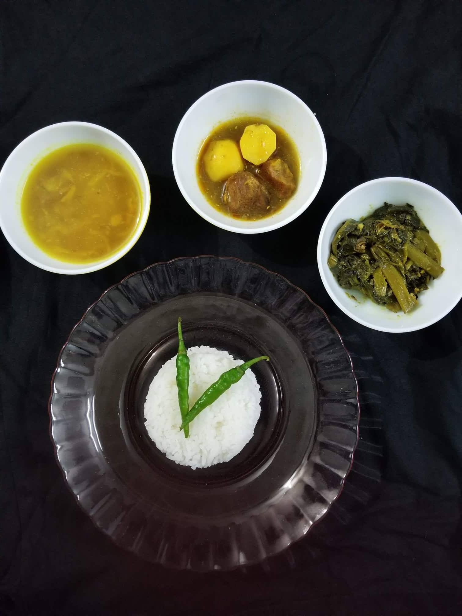 Beef Curry+Pui Shak+Daal+Bhaat from Cook with Delicacy