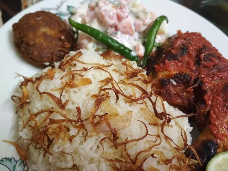 Plain Pulao, Tandoori chicken, Alur Chop & Russian Salad from Nilima Rannaghor