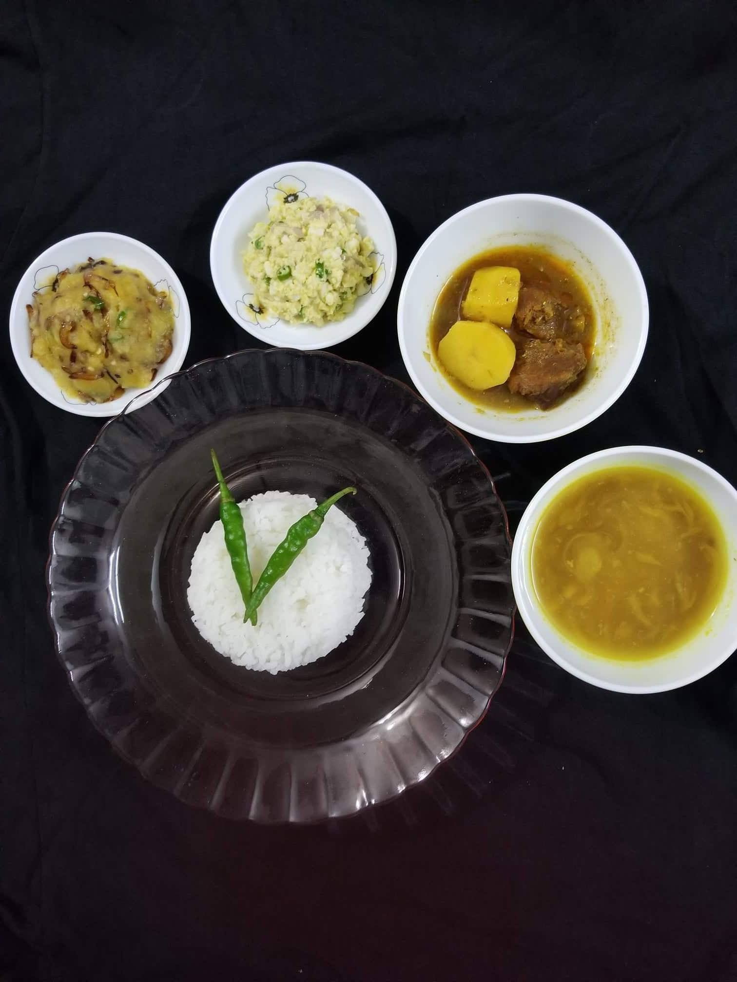 Beef Curry+Dim Bhorta+Aloo Bhorta+Daal+Bhaat from Cook with Delicacy