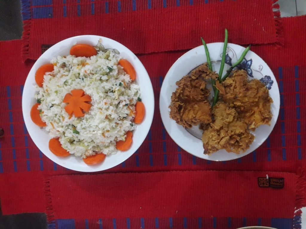 Fried Rice With Crsipy Fried Chicken from Sheema's Kitchen