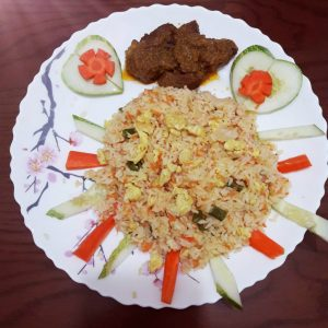 Egg Fried Rice with Beef Masala