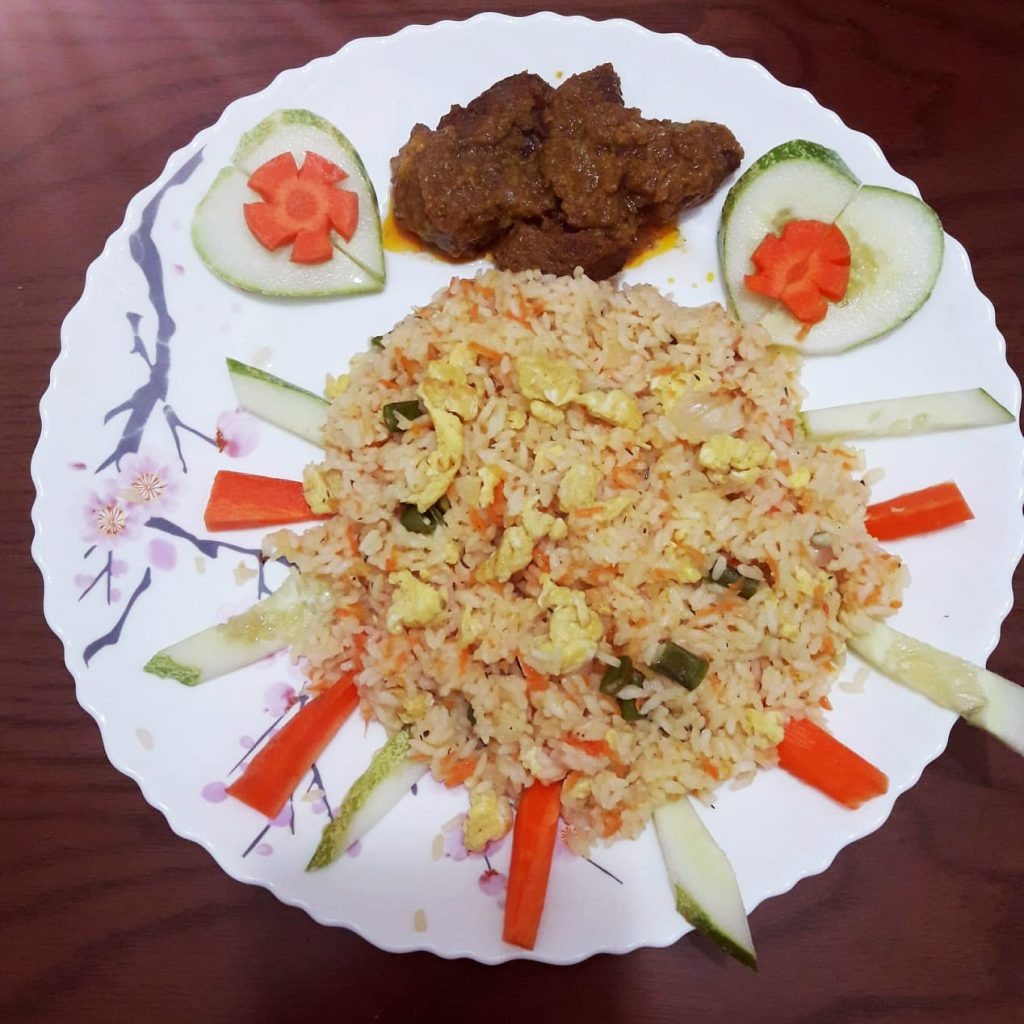 Egg Fried Rice with Beef Masala from Sheema's Kitchen