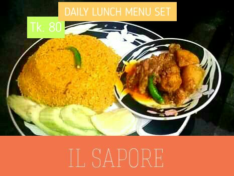 TK. 80 Daily Lunch Menu Set - Vuna Khichuri + Chicken Jhal Curry + Salad from Il Sapore