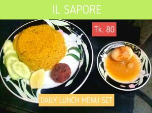 TK. 80 Daily Lunch Menu Set - Vuna Khichuri + Chicken Tikka + Egg Korma + Salad from Il Sapore