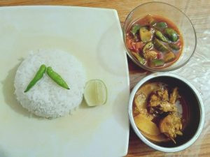 Rice with Chicken Curry and Vegetable Curry from Marshia's Dine