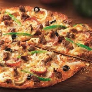 "Thin Crust with Masala Beef Pizza 12"" from Mom's Best Homemade Pizza"