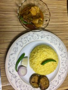 Set Menu- Vuna khichuri+ Chicken vuna + Begun bhaja + Salad from Ruma's Kitchen