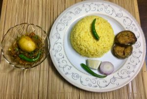 Set Menu- Vhuna khichuri + Egg vuna + Begun bhaja + Salad from Ruma's Kitchen