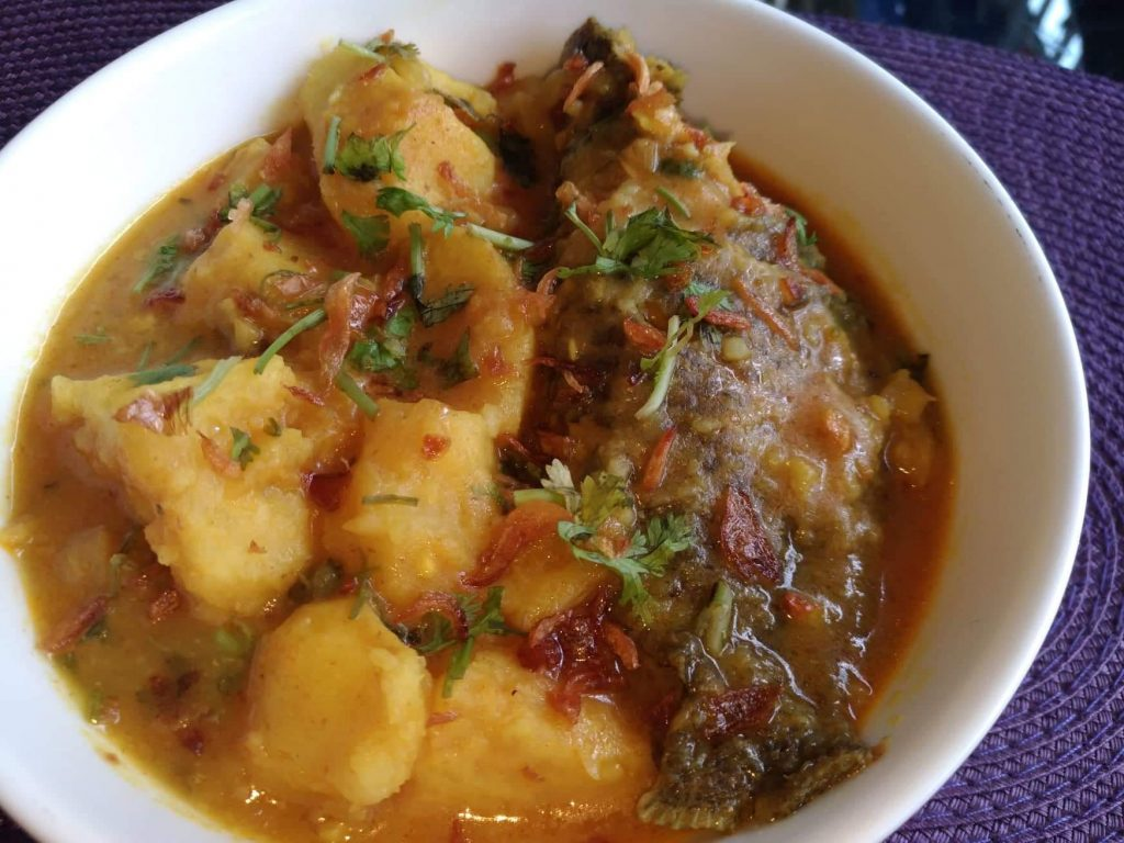 Koi Mach er Curry with Mati Aloo from Mohima's Kitchen