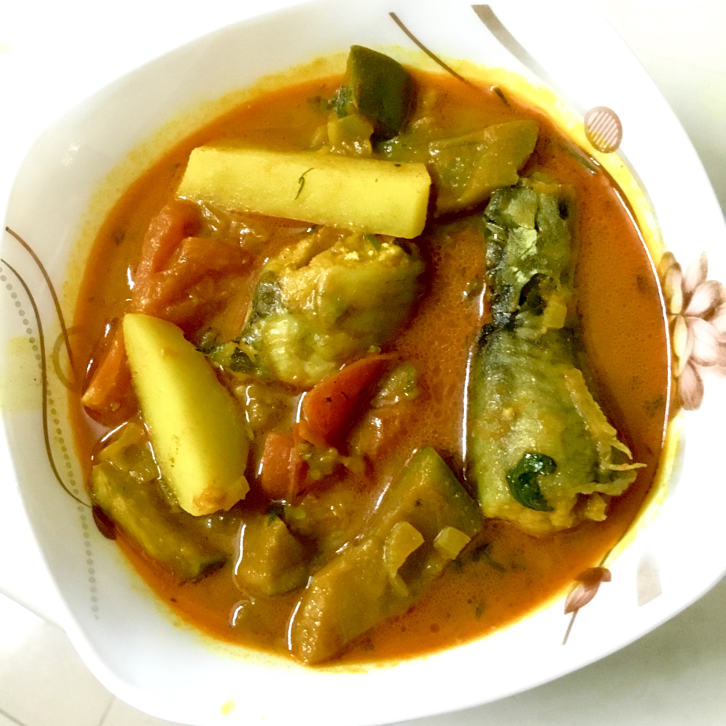 Shing Mach with Tomato, Aloo, Begun from Shokal