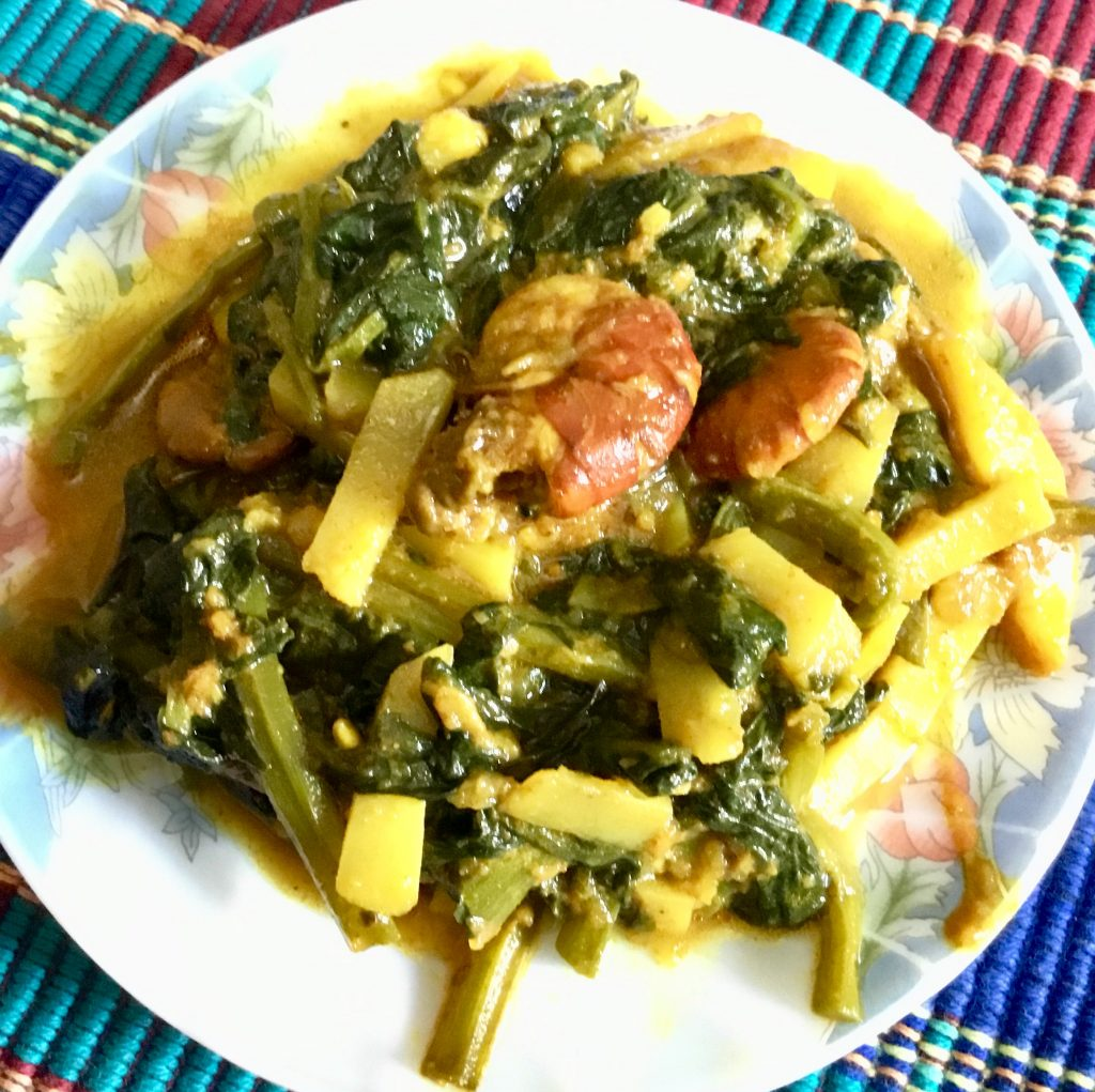Pui Shak with Chingri Fish from Shokal