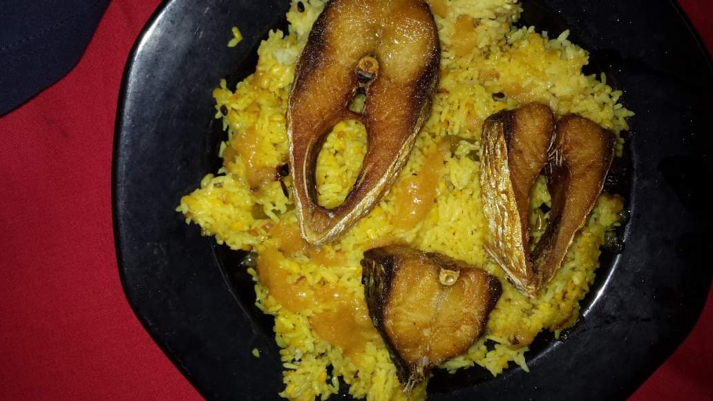 Khichuri Platter(Vuna khichuri with Ilish Mach/Hilsha Fish) from Papri's Dream