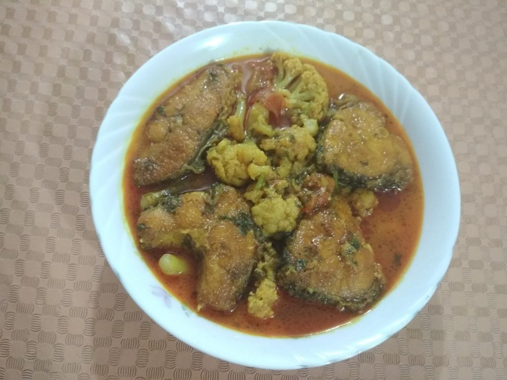 Katal Mach o Fulkopi Curry from Dipti's Cookhouse