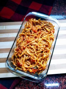 Beef Keema Spaghetti from Ayana's Kitchen
