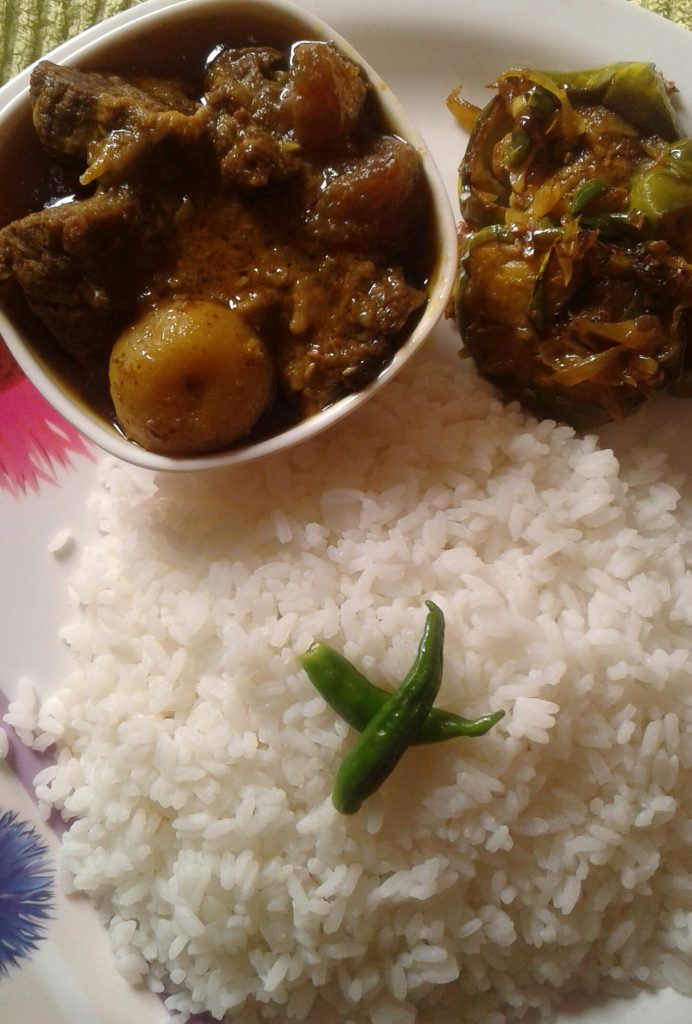 Beef Curry, Begun Vaji , Plain Rice . from My Dream